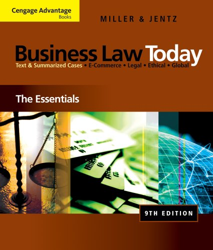 Bundle: Cengage Advantage Books: Business Law Today: The Essentials, 9th + WebTutor(TM) on Blackboard 1-Semester Printed Access Card